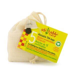 Ah! Table! Återanvändbar Tepåse i ekologisk bomull, 5-pack