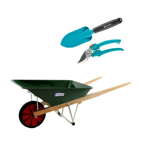 Spade, sekatör och skottkärra Skottkärra + trädgårds-kit