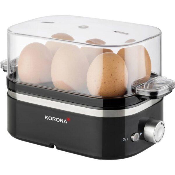 Korona Äggkokare Kontrolljus, Överhettningsskydd, med mätglas, med äggpickare Svart, Rostfritt stål